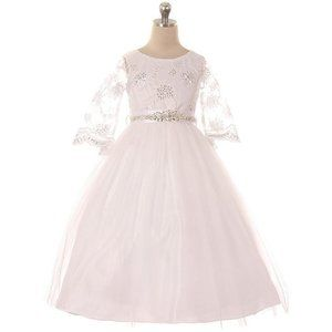 WHITE 3/4 Sleeves Embroidery Communion Girl Dress